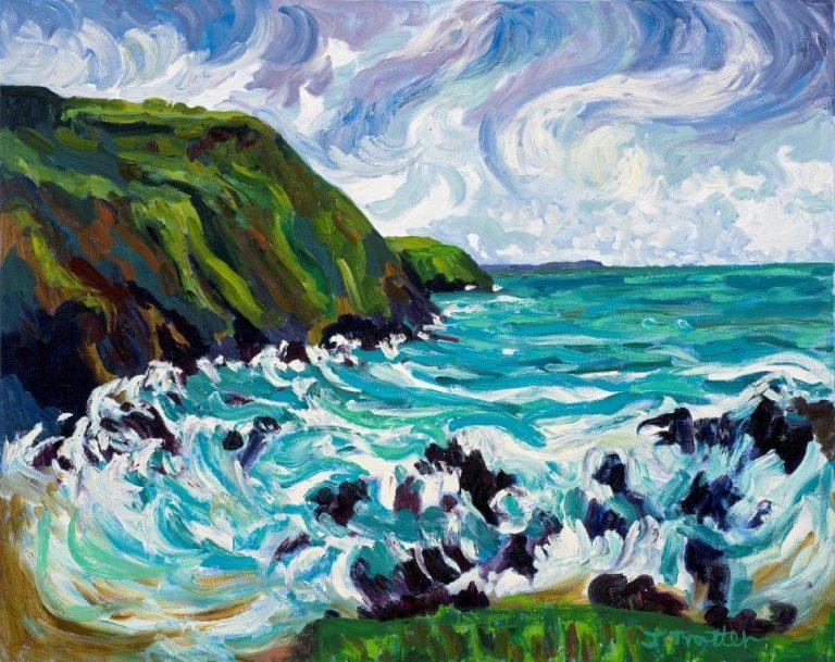 """Putsbrough Beach, North Devon, Oil on canvas 20"""" x 24"""""""