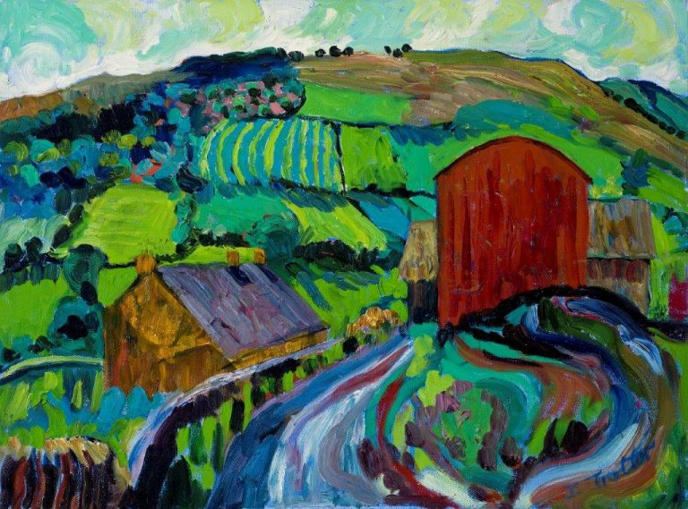 "Red Barn, Brecon Oil on canvas 18"" x 24"""