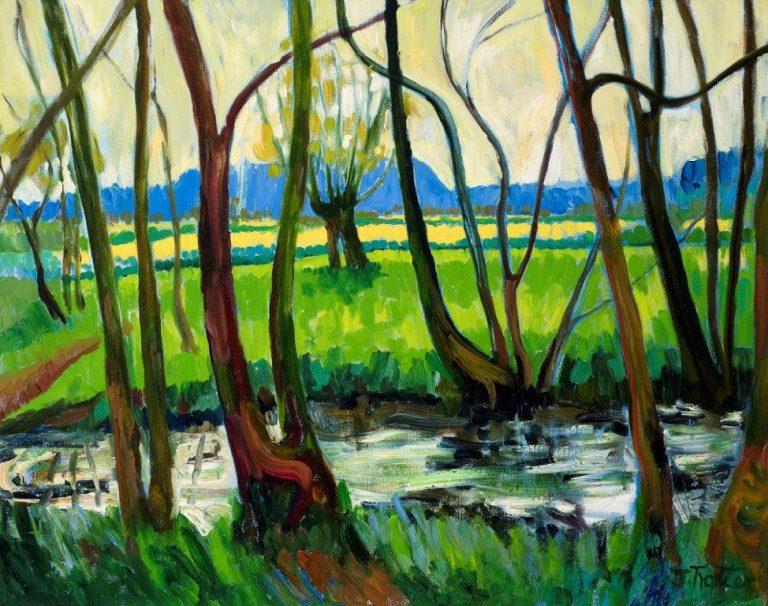 "River Teme, Shropshire Oil on canvas 24"" x 30"""