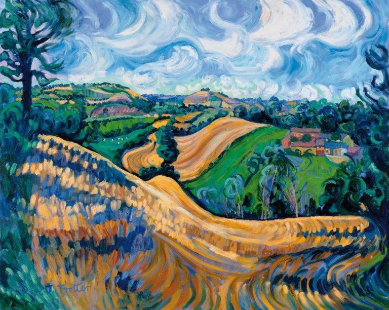 "Brailes Hill, from Nill Farm, 2013 Oil on canvas 48"" x 60"""