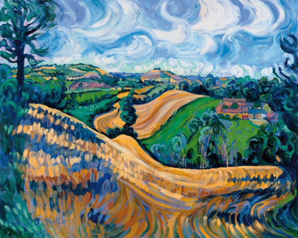 "Brailes Hill, from Nill Farm, 2013 Oil on canvas 48"" x 60"""